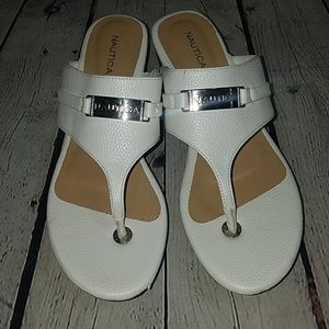 NEW NEVER WORN NAUTICA white sandals, sz 9, $100